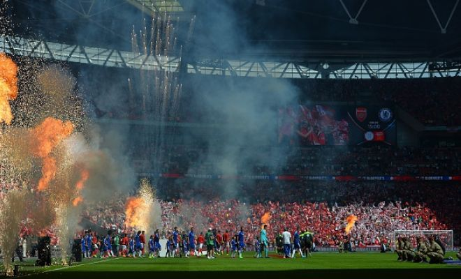 Brilliant atmosphere as the teams walk out.