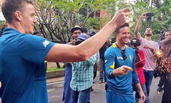 AB de Villiers and Morne Morkel celebrating Diwali.