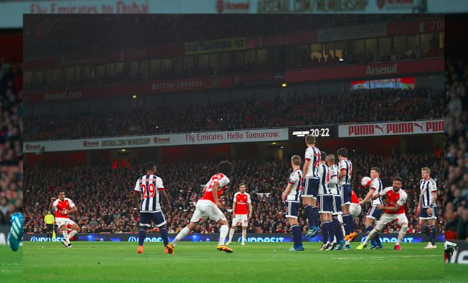 Here's Alexis scoring from his free-kick. Giroud and Mertesacker formed part of the wall and ducked out of the way in time. Assist?