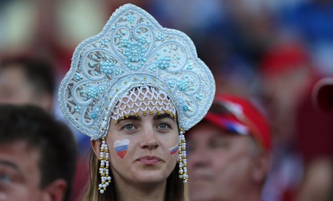 Their team may be losing, but the Russian fans are winning the headgear battle!