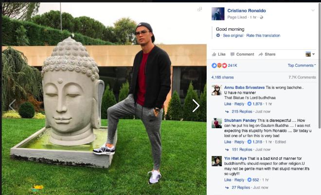 RONALDO LANDS HIMSELF IN CONTROVERSYCristiano Ronaldo has posted a picture on facebook where he is seen keeping his feet in close proximity to a statue of The Buddha. This picture has allegedlyoffended a number of Buddhists, and Ronaldo's action was seen as a sign of disrespect.
