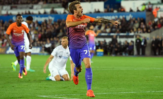 City youngster Aleix Garcia who scored yesterday hopes to makethe City squad in the Manchester derby for EFL Cup next month