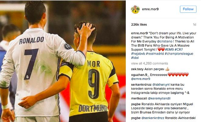EMRE MOR THANKS CRISTIANO RONALDOBorussia Dortmund forward Emre Mor has thanked Cristiano Ronaldo in a heartfelt post on Social Media.