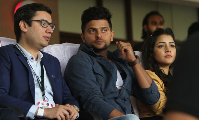 Suresh Raina is at the game rooting for Delhi Dynamos.
