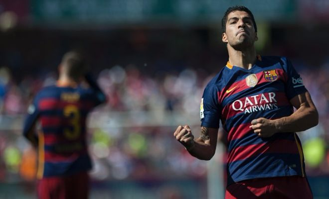 Suarez celebrating his second goal