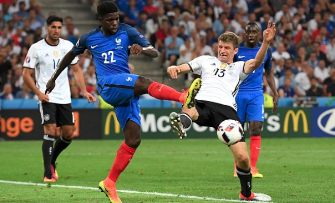 OFFICIAL: Barcelona confirm Umtiti signingBarcelona have confirmed the signing of Lyon defender Samuel Umtiti for €25 million.The 22-year-old has signed a five-year contract at the Nou Camp after representing France at the Euros, where he played in both the semi final against Germany and the final defeat to Portugal.He will be officially presented as a Barca player on Friday.