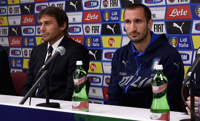 Conte wants reunion with Juve defenderChelsea are ready to make a £25m bid for Juventus centre-back Giorgio Chiellini,according to reports from the Sun. Antonio Conte, who previously worked with the 32-year-old in Turin and Italy, is reportedly looking to strengthen his backline in order to ease the pressure on John Terry and Gary Cahill.