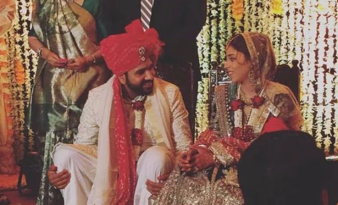 Rohit Sharma and Ritika Sajdeh on their big day.