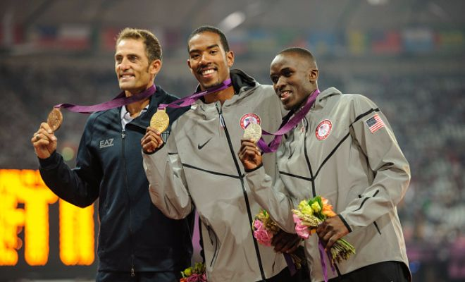 2012 London Olympics medalists1) Christian Taylor (USA)2) Will Claye (USA)3) Fabrizio Donato (Italy)All three athletes are in the qualifying round in Rio 2016 as well.