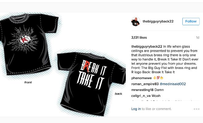 """Ryback taunts WWE with his Instagram post:Ryback, who has been in a contract dispute with WWE for a few months now, posted this on Instagram:""""In life when glass ceilings are presented to prevent you from that illustrious brass ring there is only one way to handle it, Break It Take It! Don't ever let anyone prevent you from your dreams. Front: The Big Guy Fist with brass ring and R logo Back: Break It Take It."""""""