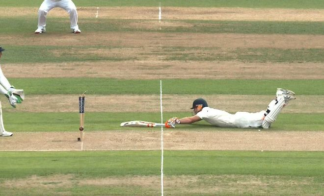 Close call as David Warner merely makes it back to the crease with claims of a run out. Third umpire indicated he is not.