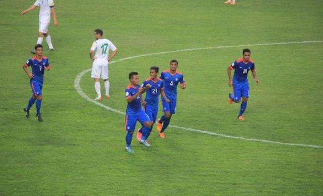 Jeje celebrates India's equaliser.