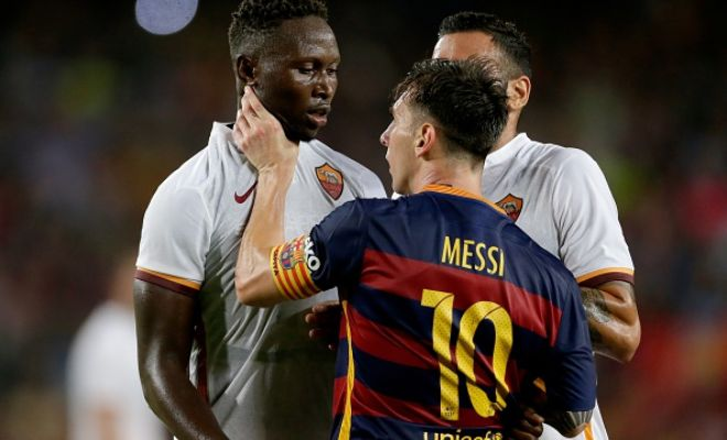 Video: Lionel Messi headbutts Roma's Yanga-Mbiwa and then grabs his neck in friendly match