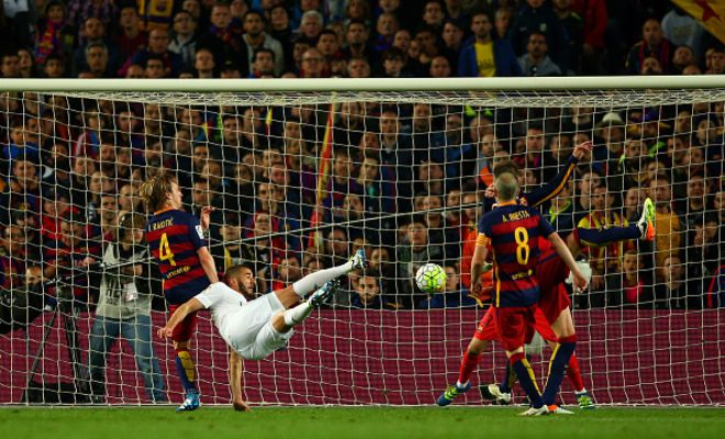 Karim Benzema equalised with an acrobatic effort!