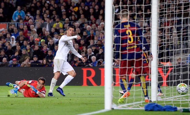 Cristiano Ronaldo finally got his Clasico goal after hitting the bar earlier in the second half