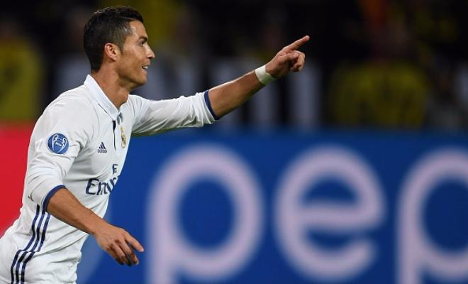Here's Ronaldo celebrating his 96th goal in the Champions League!