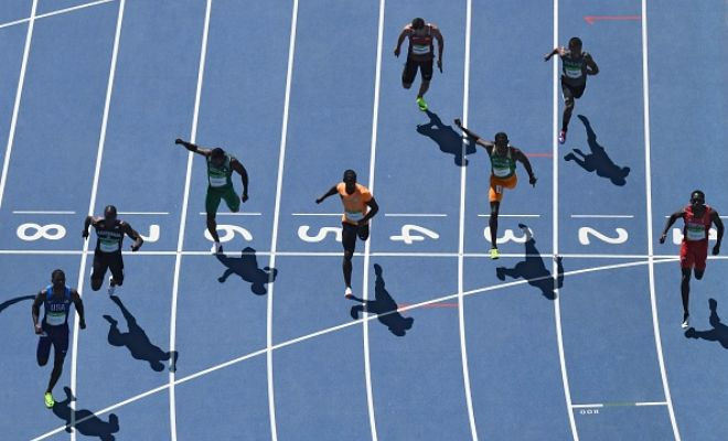 Look at how far ahead Justin Gatlin was in his heat in spite of slowing down in the last few metres.