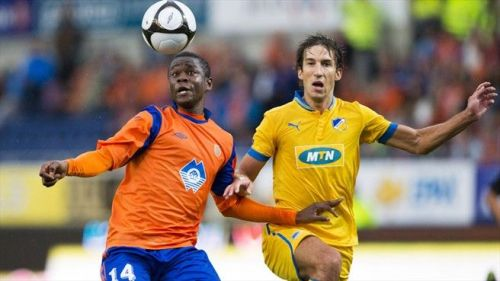 Aritz Borda (R) in Europa League action for APOEL against Aalesunds FK of Norway