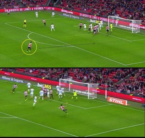 Lekue (circled yellow) makes a blind-side run to have a free shot at goal