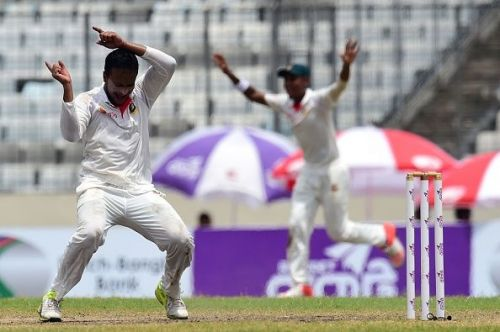 Shakib celebrates a wicket during the Test
