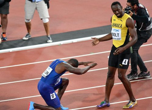 Gatlin bows down to the real king after his win