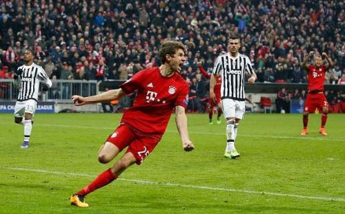 Thomas Mueller celebrates the equalizer against Juventus.