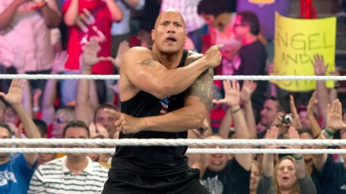 The Rock delivering a People's Elbow