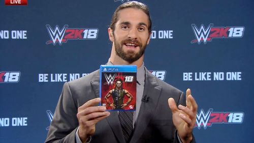 Seth Rollins and what is presumably his personal copy of WWE 2K18
