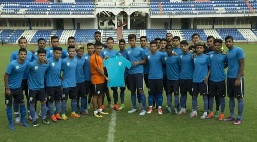 The Indian U-17 team with Sunil Chhetri (image source: Indian Express)