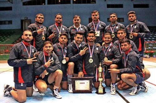 The Indian national squad with their championship spoils