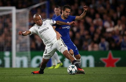Qarabag's Dino Ndlovu in action