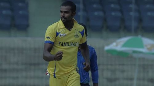 Crist celebrates after taking a wicket in the Vijay Hazare trophy