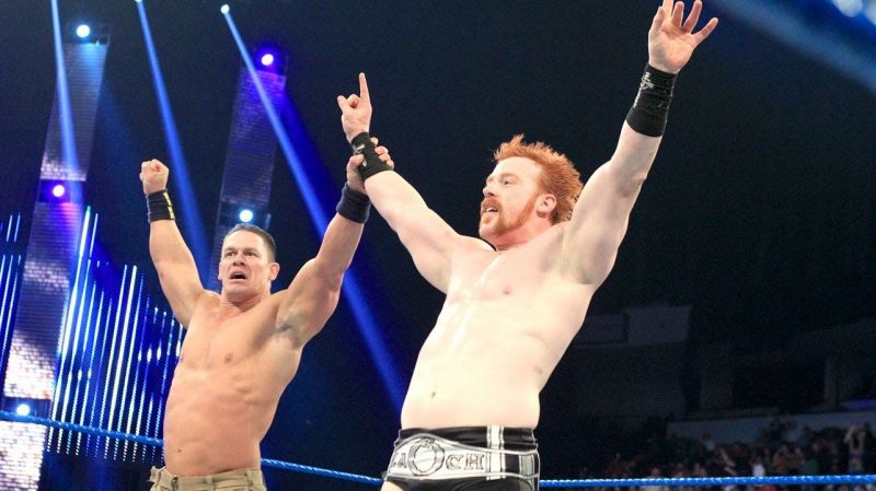 John Cena in the ring with Sheamus
