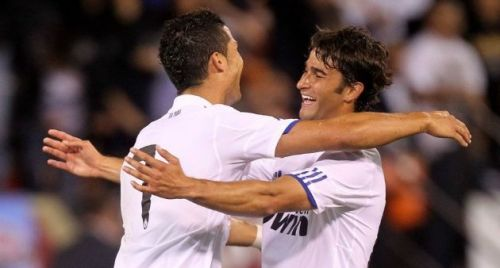 Marcos Tebar celebrating a goal with Cristiano Ronaldo at Real Madrid
