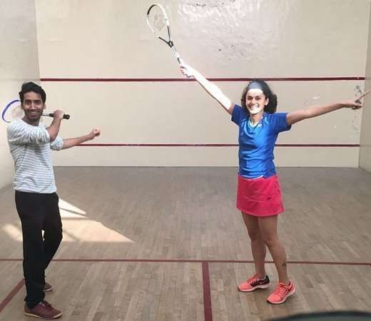 Taapsee enjoys a moment of squash with a co-star