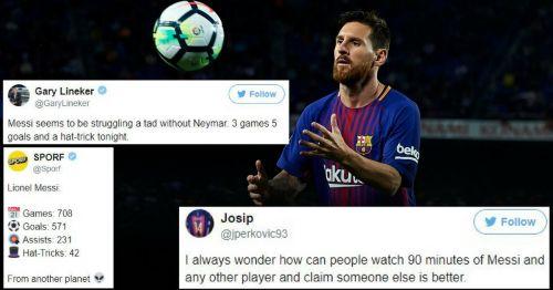Lionel Messi scored an impeccable hat-trick