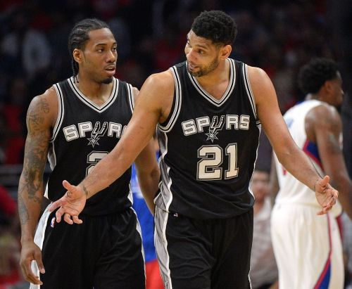 Tim Duncan and Kawhi Leonard are sure locks in the franchise all-time starting five