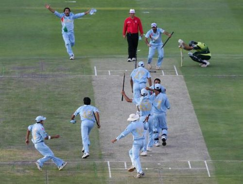 Scenes at the Wanderers after Sreesanth took the catch