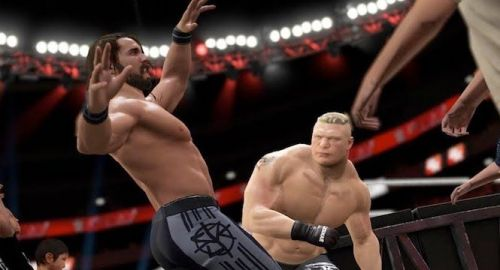 In WWE 2K18's MyCareer mode, that could be YOUR wrestler getting punched by Brock Lesnar