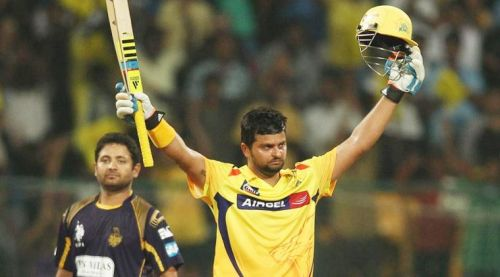 Suresh Raina after scoring a century in the 2014 Champions League T20 final
