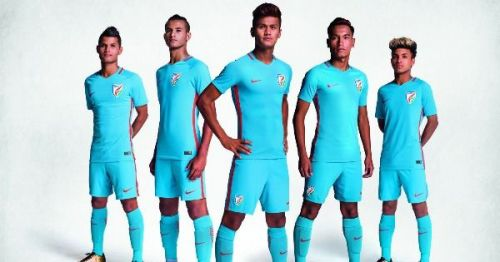 India's U-17 players modelling the new Indian football kit