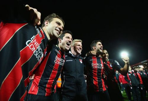 The Bournemouth players and Eddie Howe celebrate making it to the Premier League