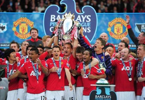 Manchester United celebrating their most recent title triumph in 2013