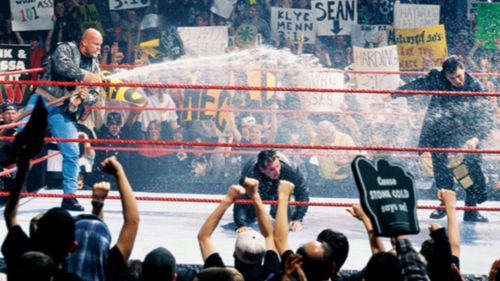 Stone Cold Steve Austin stole the show on Monday Night Raw as he doused Vince McMahon, Shane McMahon and the Rock in beer.