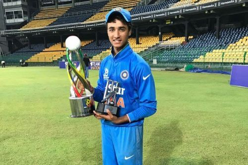 Abhishek with the under-19 Asia Cup trophy