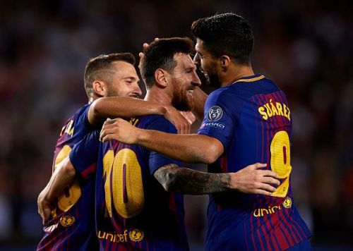 Barcelona score the third goal against Juventus in their UCL opener