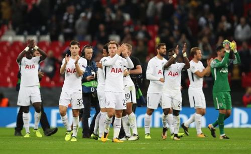 Tottenham Hotspur players applaud the fans after their impressive win