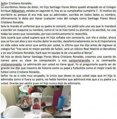 Santiago's parents letter to Cristiano Ronaldo