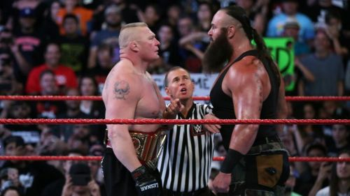 Braun Strowman and Brock Lesnar face each other in the lead-up to their match at No Mercy