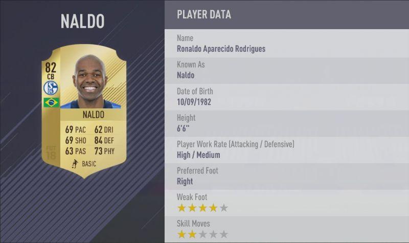 Naldo's FIFA 18 card